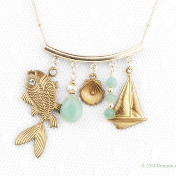 Gold Filled // Nautical Charm Necklace // Beach Jewelry // Summer Necklace // Fish Sailboat Sea Shell //