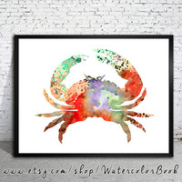 Red Crab Watercolor Print, watercolor painting, watercolor art, Illustration,  home decor wall art, crab art, watercolor animal, crab art
