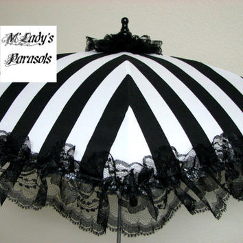 VICTORIAN PARASOL Umbrella in Elegant Black/White Stripe Satin with Lace Ruffle Bridal Steampunk Second Line Shower Child Flower Girl