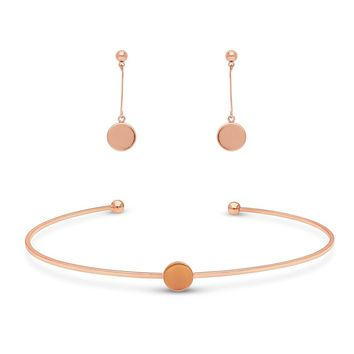 Rose Gold-Tone Ball Bead Coin Medallion Round Choker Necklace and Earrings SetBe the first to write a reviewSKU# vs512-03