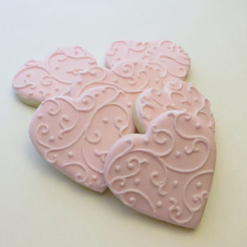 pink heart decorated cookie favors wedding favors valentines day gift 1 dozen - Decorated Valentine Cookies
