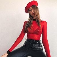 Red Mock Turtleneck Mesh Long Sleeve