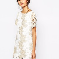 Soma London Heavy Metallic Crochet Lace Shift Dress