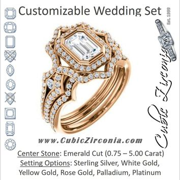 CZ Wedding Set, featuring The Arya engagement ring (Customizable Emerald Cut with Ultrawide Pavé Split-Band and Nature-Inspired Double Halo)