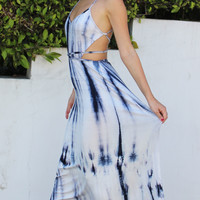 Blue & White Halter Tie Dye Maxi Dress