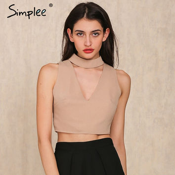 Simplee High neck halter 90's cropped camisole tank top Summer sexy v neck sleeveless crop top Beach short women tops camis