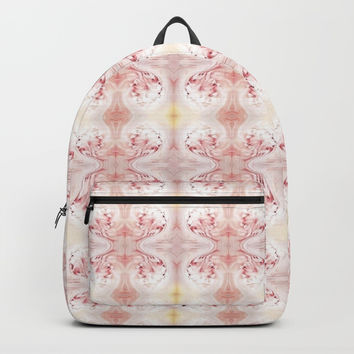 Shabby Chic Peach with White and Yellow #HomeDecor Backpacks by Sheila Wenzel
