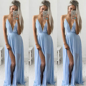 Sexy Women Summer Long Maxi Evening Party Dress Beach Dresses Chiffon  Spaghetti Strap Sky Blue Dress
