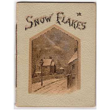 Antique Poetry Booklet, Snow Flakes, EP Dutton & Co, Printed in Germany, 1890s Illustrated Poetry Book , Winter Scenes, Bells, Birds, Ship