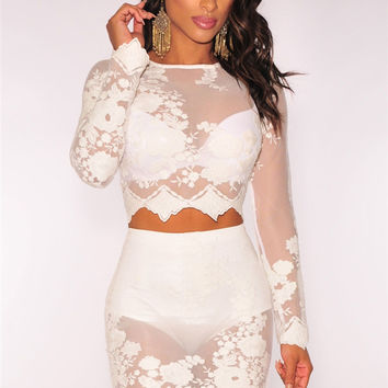 White Crop Sets with Lace Details