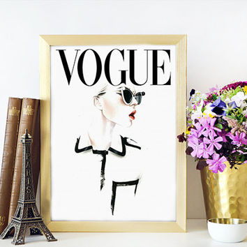 VOGUE PRINT Fashionista Vogue Cover Art Archival Prints Four sizes. Watercolour Fashion Illustration Prints. Vogue Art Titled: Vogue