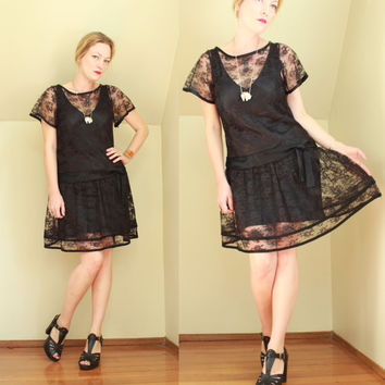 Vintage - 20s Style - Sheer - See Through - Black Floral Lace - Satin Bow Drop Waist - Flapper Dress w/ Satin Slip