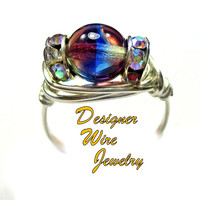DWJ0436 Lovely Czech Art Glass Purple Blue Jonquil Silver Wire Wrap Ring All Sizes