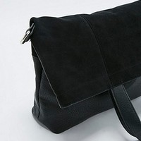 Black Suede Fold Over Tote Bag - Urban Outfitters