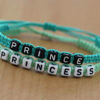 Couples Bracelets Set, Prince Princess Bracelets, His and Hers Bracelets, Anniversary Gift, Personalized Birthday Gift, Friendship Gifts