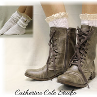 Boot Socks, NORDIC LACE, short, slouch, boot, knit, lace, cuffs, buttons, White | SLX1B