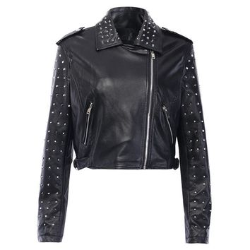 InsGoth Faux Leather Jackets Zipper Basic Coats Women Gothic Streetwear Autumn Winter Black Leather Jackets Coat Rivet Jacket