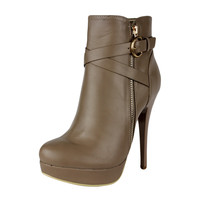 Womens Ankle Boots Strappy Buckle and Zipper Acce Sexy High Heels Taupe SZ