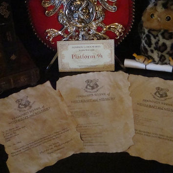 Customizable Harry Potter School Years Set - First Year Acceptance Letter - Third Year Letter - O.W.L Results