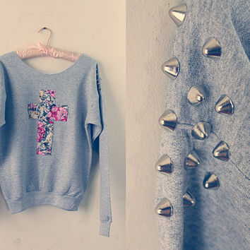 FLORAL CROSS SWEATER with studded shoulders by AubryRoach on Etsy
