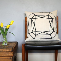 Natural Linen Faceted Square Gem Pillow