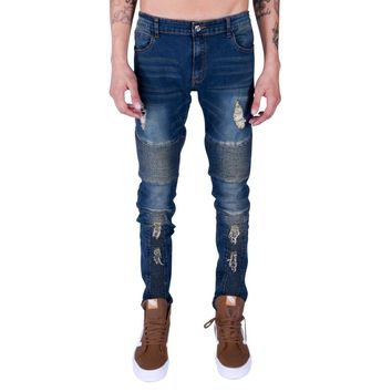 Chance distressed moto jeans