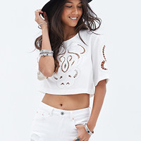 FOREVER 21 Boxy Embroidered Crop Top Cream