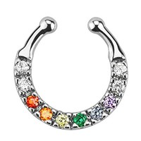 BodyJ4You Septum Ring Nose Rainbow Multi-Color Gem Fake Non Piercing Illusion Jewelry