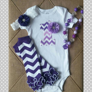 Purple Chevron First Birthday Outfit - Birthday Outfit - Number 1 One- Chevron - Baby Girl - Onesuit - Headband - Necklace