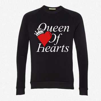 QUEEN OF HEARTS fleece crewneck sweatshirt