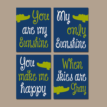 ALLIGATOR You Are My Sunshine Wall Art Artwork Navy Blue Green BOY Nursery Rhyme Quote Song Print Set of 4 Prints Baby Crib Decor