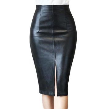 6d95aecf1770f8 Colorfaith 2018 Women PU Leather Midi Skirt Autumn Winter Ladies Package  Hip Front or Back Slit