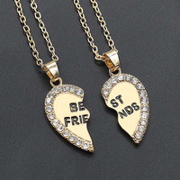 2pcs/pair 2016 new fashion Best friend necklace women 2 in 1 gold silver heart statement pendant friendship jewelry as gift