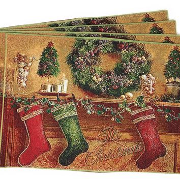 Tache New 4 PC Festive Christmas Hung With Care Placemat Set