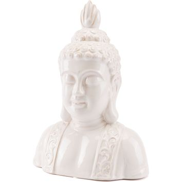 Ivory Distressed Buddha Head Figurine