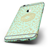 The Mint and Gold Floral v5 Six-Piece Skin Kit for the iPhone 6/6s or 6/6s Plus