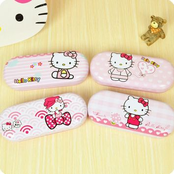 New KT Metal Box Makeup Storage Hello Kitty Pencil Case Stationery Multifunction Glasses Box Storage Random delivery