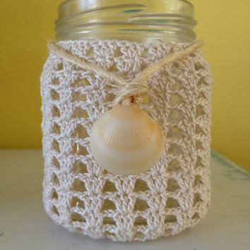 Crocheted Mason Jar Cover, Cover Only, Made to Order For Your Mason Jar, Half Pint, Pint or Quart Size Available