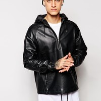 ASOS Leather Hooded Pullover Jacket at asos.com
