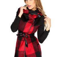 Casual Cute Red Black Gingham Print Long Sleeves Winter Coat