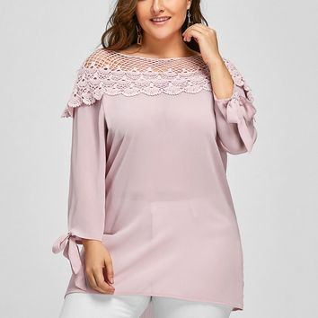 Gamiss Plus Size Boat Neck Floral Crochet T Shirts Women Casual Ladies Office Shirts Foldover Boat Neck Cuff Long sleeve Tshirts