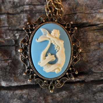 Mermaid Cameo Necklace, Gothic Tattoo Style Necklace, White and Light Blue Cameo