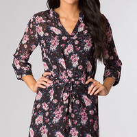 Short Floral Print As U Wish Dress with 3/4 Length Sleeves