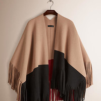 Fringe Poncho in Wool and Cashmere