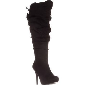 TS35 Brisa Wide Calf Platform Knee-High Boots, Black, 9.5 W US