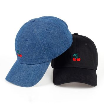 Trendy Winter Jacket New Cherry Fruits Embroidered Snapback Baseball Cap Dad Hats Man & Women Denim Blue bone Caps Adjustable Curved Hats for Travel AT_92_12