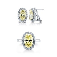 925 STERLING SILVER OVAL CANARY YELLOW CUBIC ZIRCONIA CZ HALO JEWELRY SET