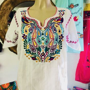 Amazing Mexican Embroidered Peacock Blouse White