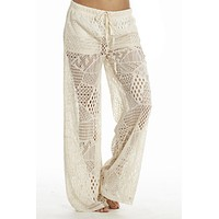 Black, White or Cream Wide Leg Crochet/Lace Pants