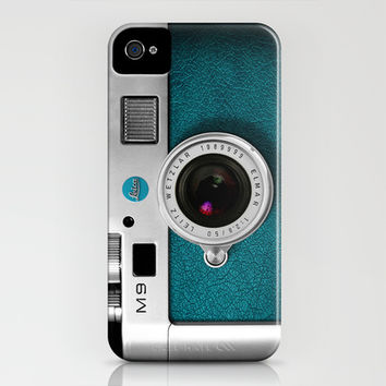 classic retro Blue teal silver Leica M9 Leather vintage camera iPhone 4 4s 5 5c, ipod, ipad case iPhone & iPod Case by Three Second